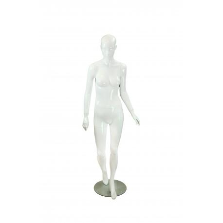 Maniquí de mujer blanco brillo con facciones