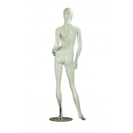 Maniquí de mujer fibra de vídrio blanco brillo detalles dorados