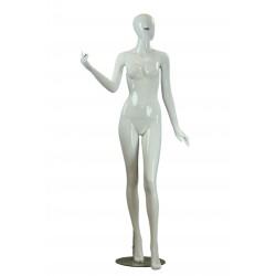 Maniquí de mujer fibra de vídrio blanco brillo pestañas azules pierna adelantada