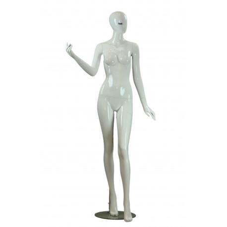 Maniquí de mujer fibra de vídrio blanco brillo pestaña azul pierna adelantada