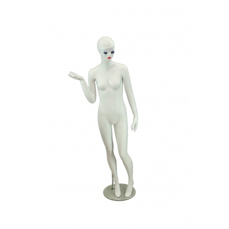Maniquí de mujer fibra de vídrio blanco mate con rostro