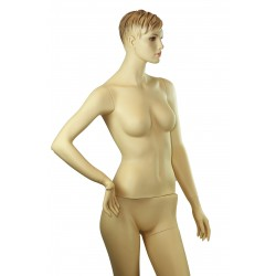 Maniquí de mujer fibra vídrio posando y pelo esculpido color carne