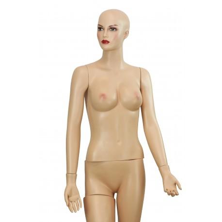 Maniquí de mujer maquillada sin pelo color carne
