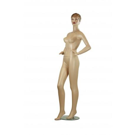 Maniquí de mujer realista con pelo esculpido color carne