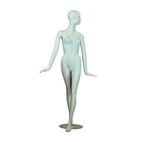 Maniquí de mujer color blanco mate con facciones y brazos extendidos.