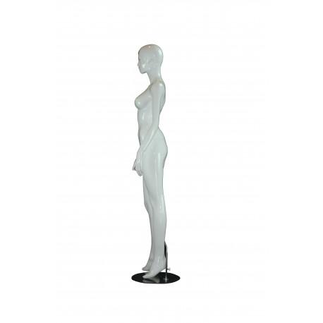 Maniquí de mujer fibra de vídrio lacado en blanco y detalles dorados