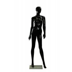 Maniquí de mujer fibra de vídrio negro brillo con facciones
