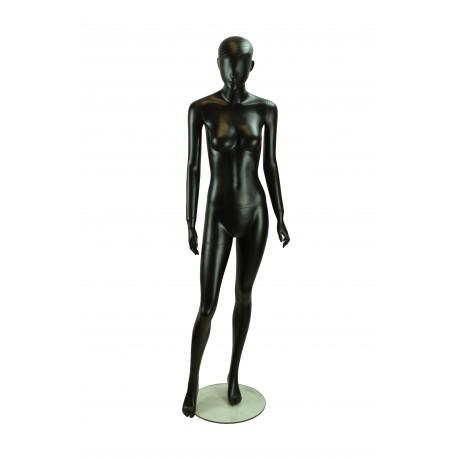 Maniqui de mujer lacado negro mate con pelo esculpido