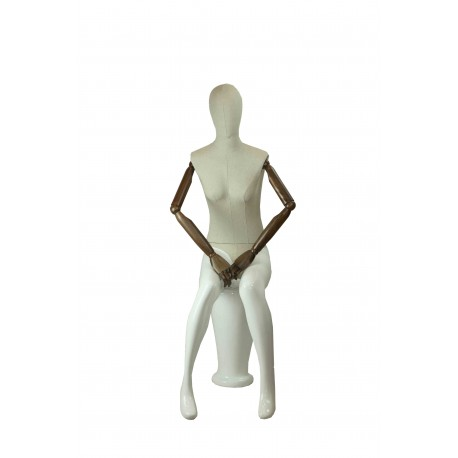 Maniquí de mujer fibra de vídrio sentada blanco mate y tela brazos articulados