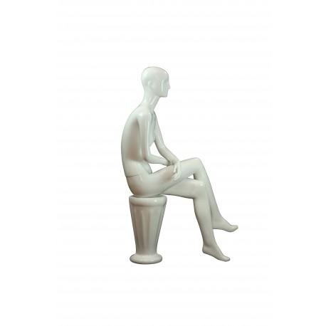 Maniquí de mujer fibra de vídrio sentada blanco brillo con facciones