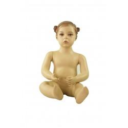 Maniquí infantil niña realista sentada 1 año color carne