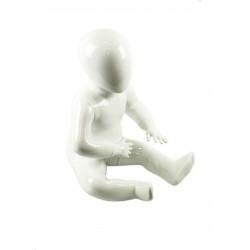 Maniquí infantil sentado blanco brillo sin facciones 1-2 años