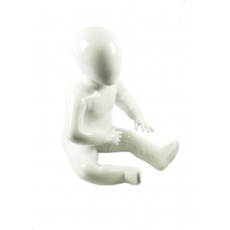 Maniquí niña fibra vídrio sentada blanco brillo