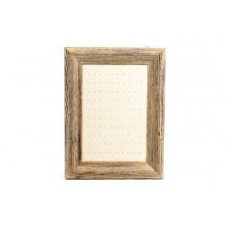Marco expositor para pendientes en lino beige y madera 30x40 cm
