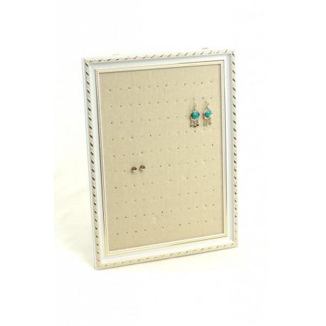 Marco expositor para pendientes en lino beige 30x40x2 cm