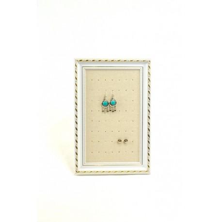 Marco expositor para pendientes en lino beige 25x30 cm