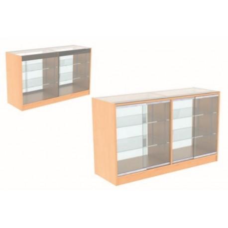 Mostrador de madera y cristal para tienda color haya 120x90x50cm