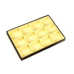 Bandeja expositora de joyería en polipiel vainilla/chocolate 12 compartimentos