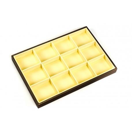 Bandeja expositora de joyería polipiel vainilla/chocolate 12 compartimentos