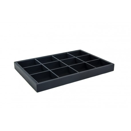 Bandeja expositora para joyería en polipiel negro 12 compartimentos