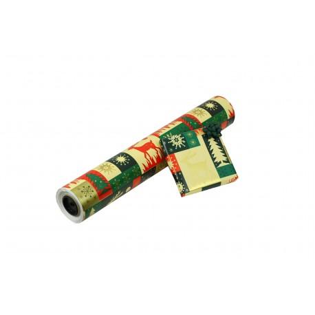 Papel de regalo estampado motivos navideños renos 62cm