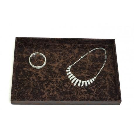 Bandeja de joyería polipiel color marrón
