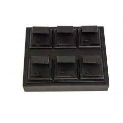 Bandeja expositora para pendientes en polipiel negra 15.5x18.5 cm