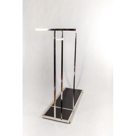 Perchero de acero en forma de T, base de cristal negro 120x120x45cm