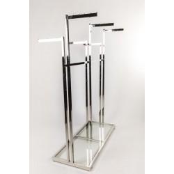 Perchero de acero 6 brazos, base de cristal
