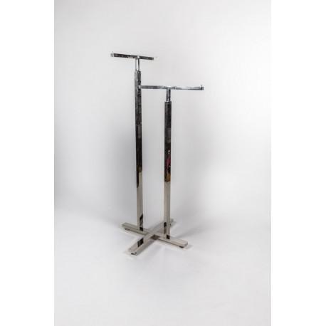 Perchero de acero en forma de T a dos alturas 140x60x60cm