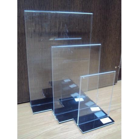 Porta cartel acrílico forma T A5 21.5x15x7cm