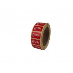 Etiquetas de precios 0,99 € para tiendas 25x15mm