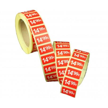 Etiquetas de precios 14,99 € para tiendas 25x15mm