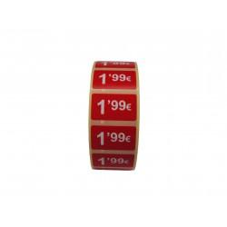 Etiquetas de precios 1,99 € para tiendas 25x15mm