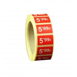 Etiquetas de precios 5,99 € para tiendas 25x15mm