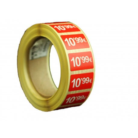 Etiquetas de precios 10,99 € para tiendas 25x15mm