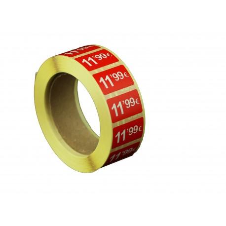 Etiquetas de precios 11,99 € para tiendas 25x15mm