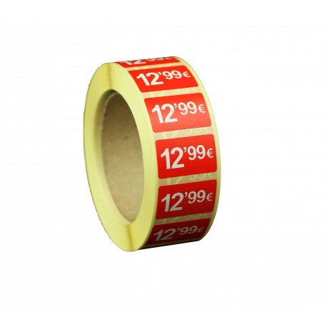 Etiquetas de precios 12,99 € para tiendas 25x15mm