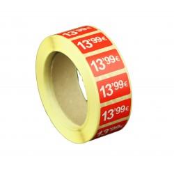 Etiquetas de precios 13,99 € para tiendas 25x15mm