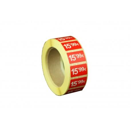 Etiquetas de precios 15,99 € para tiendas 25x15mm
