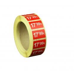 Etiquetas de precios 17,99 € para tiendas 25x15mm