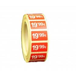 Etiquetas de precios 19,99 € para tiendas 25x15mm