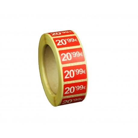Etiquetas de precios 20,99 € para tiendas 25x15mm