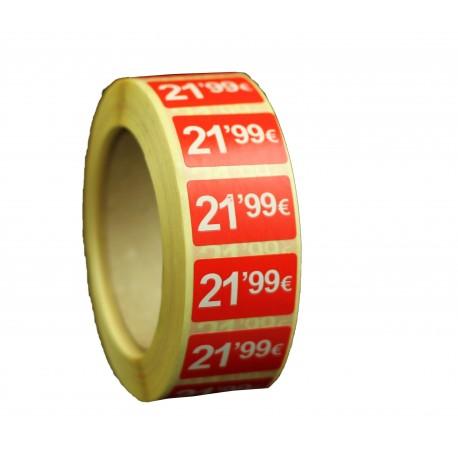 Etiquetas de precios 21,99 € para tiendas 25x15mm