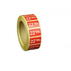 Etiquetas de precios 22,99 € para tiendas 25x15mm