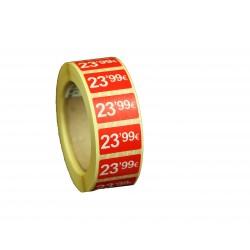 Etiquetas de precios 23,99 € para tiendas 25x15mm