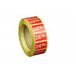 Etiquetas de precios 24,99 € para tiendas 25x15mm