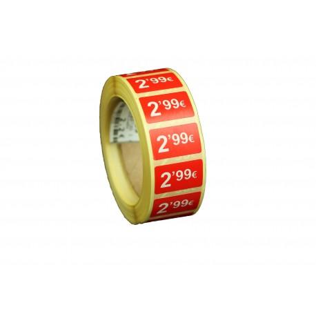 Etiquetas de precios 2,99 € para tiendas 25x15mm