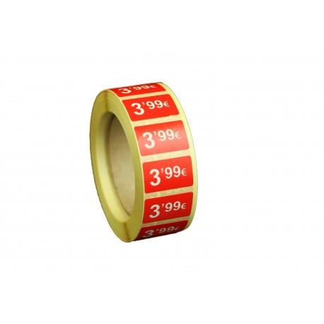 Etiquetas de precios 3,99 € para tiendas 25x15mm