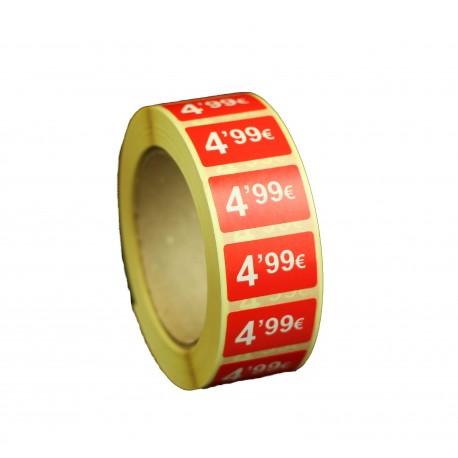 Etiquetas de precios 4,99 € para tiendas 25x15mm